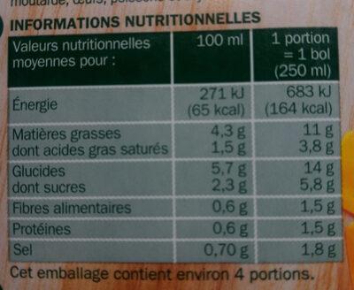 Potage gourmand 8 légumes à la crème - Informations nutritionnelles - fr