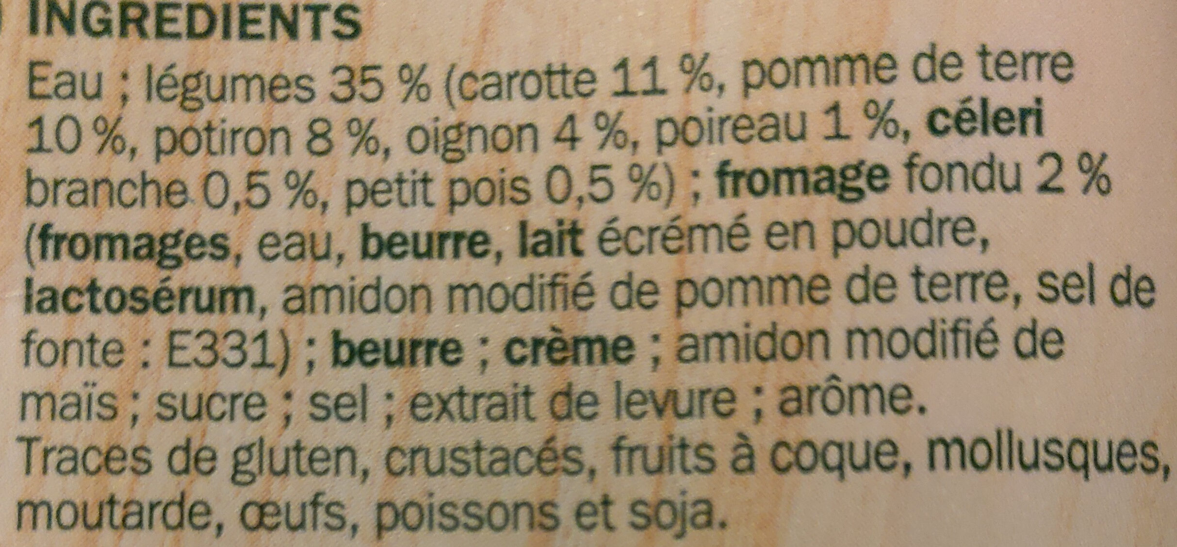 Potage gourmand légumes au fromage fondu - Ingrédients - fr
