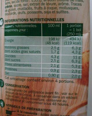 Potage gourmand légumes au fromage fondu - Informations nutritionnelles