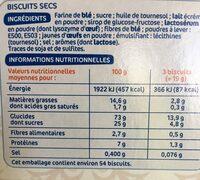 Biscuits secs 'thé' - Ingrédients
