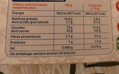 Biscuits secs 'thé' - Informations nutritionnelles - fr