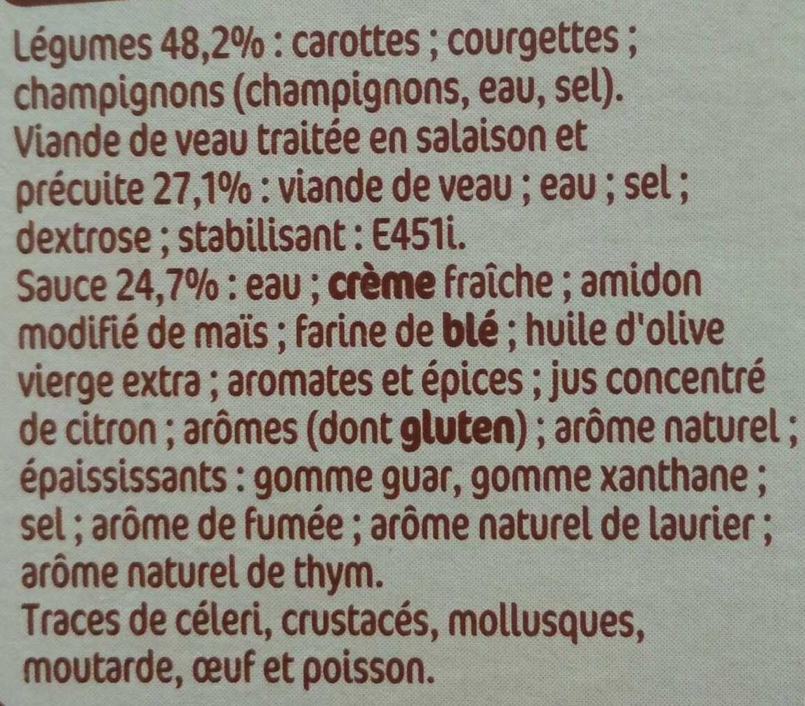 Veau aux petits légumes - Ingrédients