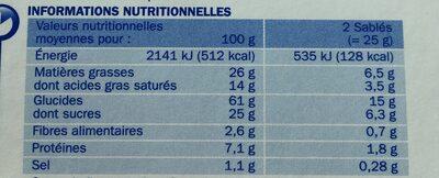 Sablés céréale chocolat au lait en pocket x 6 - حقائق غذائية - fr