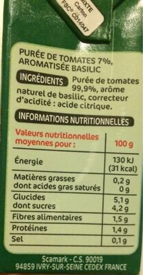Purée de tomates saveur basilic - Informations nutritionnelles - fr