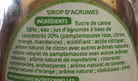 Sirop d'agrumes au sucre de canne - Ingrediënten