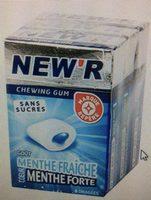 Chewing gum sans sucres goût menthe fraîche coeur menthe forte - Nutrition facts
