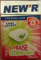 Chewing gum sans sucres goût fraise coeur citron vert - Produit