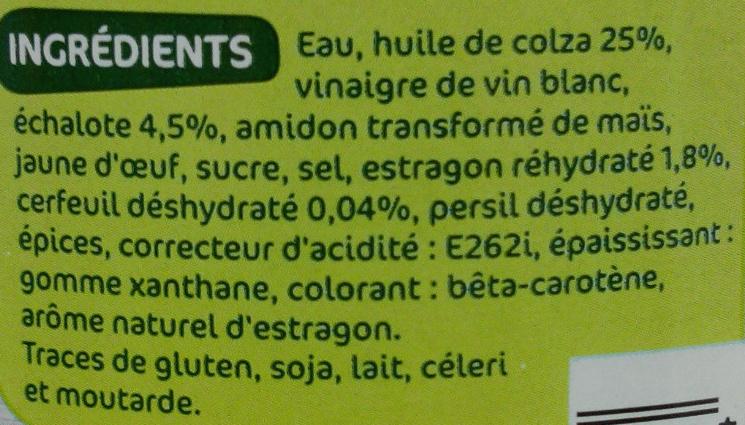 Sauce échalote estragon - Ingrédients - fr