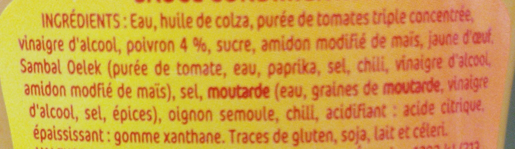 Sauce samoura piquante au poivron rustica 254 g - Acide citrique leclerc ...