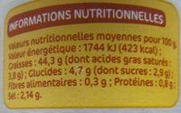 Sauce tartare - pot - Informations nutritionnelles - fr