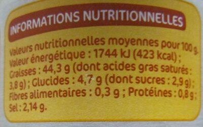 Sauce tartare - pot - Informations nutritionnelles
