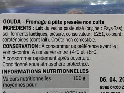 Gouda portion 31%mg - Ingrediënten