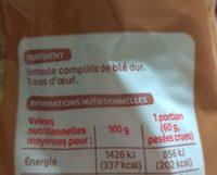 Torsettes complètes - Ingredients
