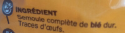 Torsades au blé complet - Ingredientes - fr