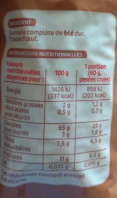 Torsades au blé complet - Información nutricional - fr