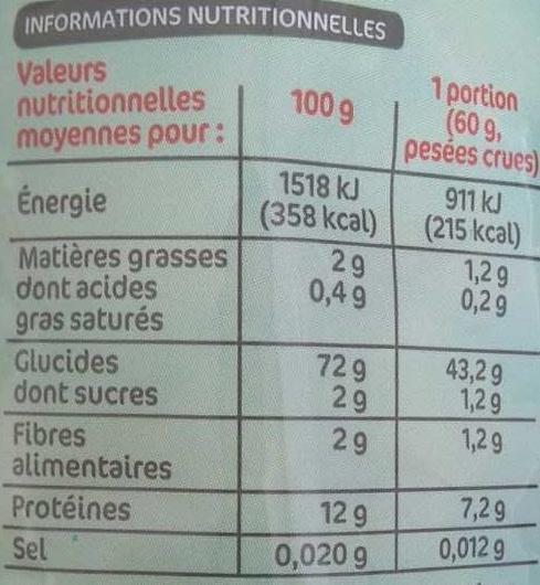 Farfalle cuison rapide - Informations nutritionnelles - fr