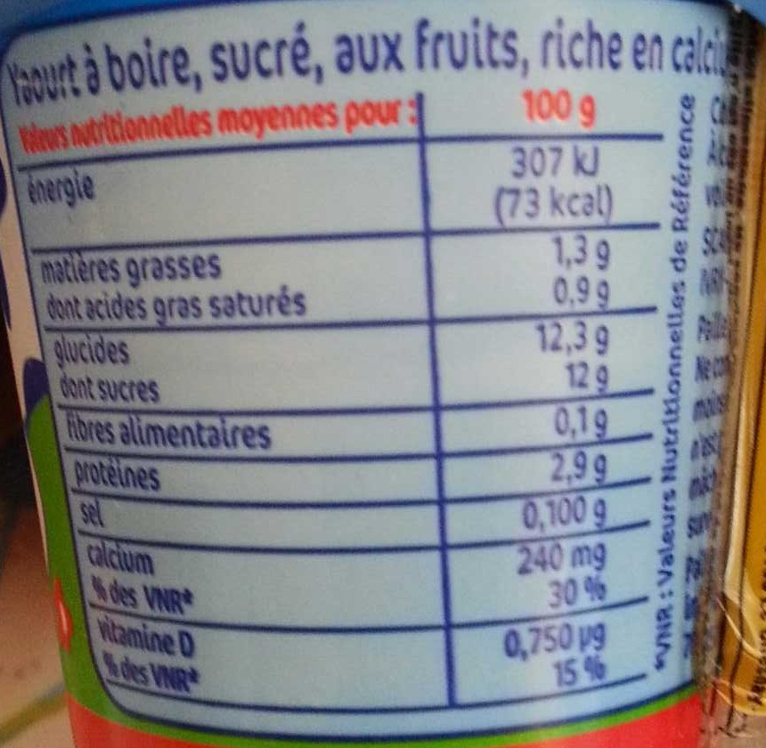 Yaourt à boire à la paille - Nutrition facts