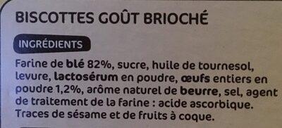 Biscottes goût brioché x 36 - Ingrédients