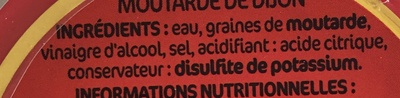 Moutarde de Dijon - verre - Ingrédients
