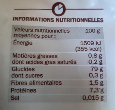 Riz long étuvé cuisson rapide - Informations nutritionnelles