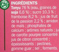 Spécialité au soja framboise et passion - Ingrédients - fr
