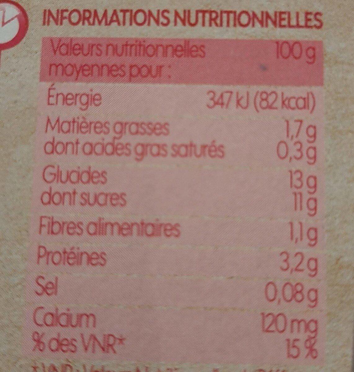Spécialité au soja framboise et passion - Informations nutritionnelles - fr