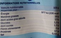Mozzarella - format familial - Informazioni nutrizionali - fr