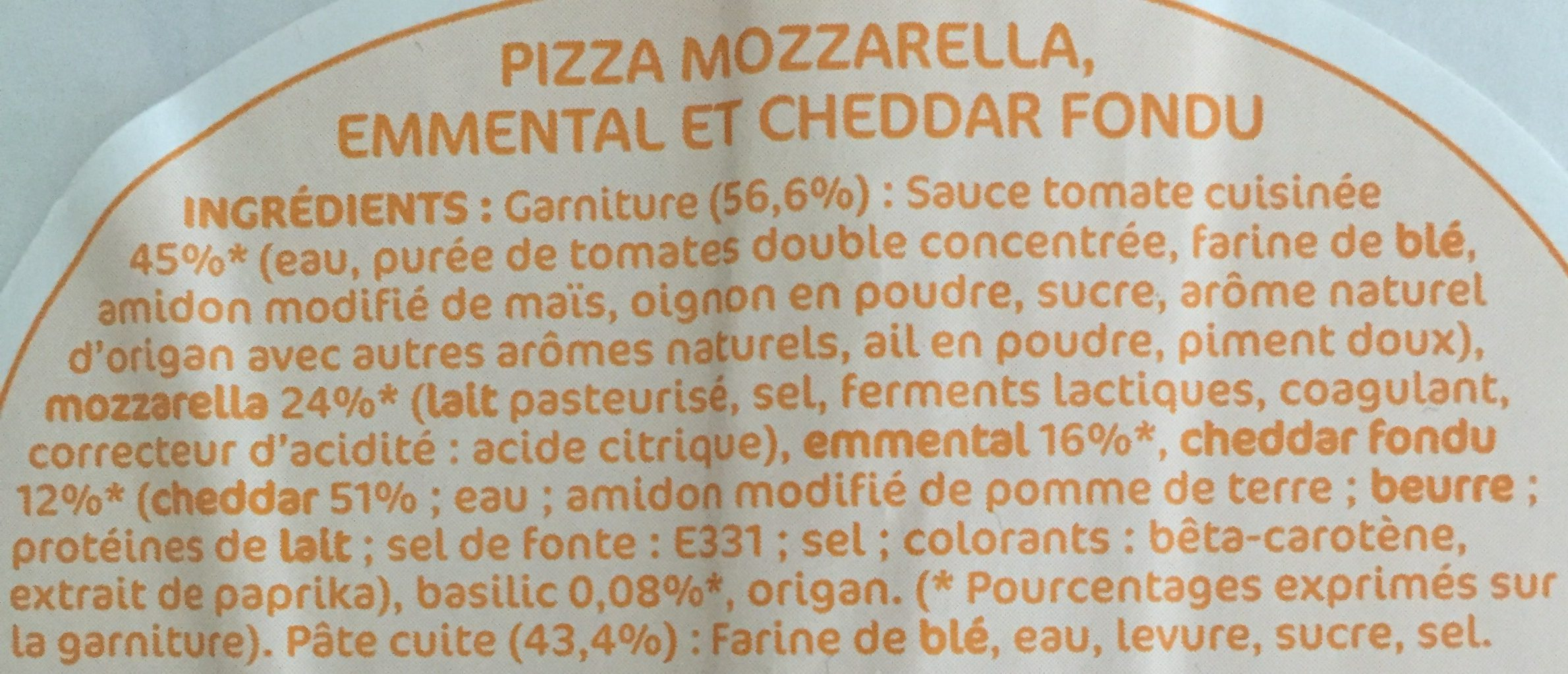 Pizza 3 fromages - Ingredients