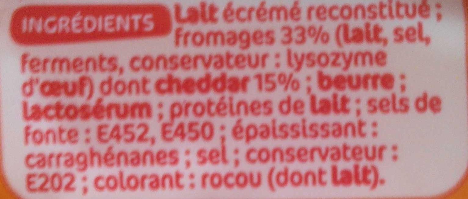 Tranches fromage fondu cheddarX20 - Inhaltsstoffe - fr
