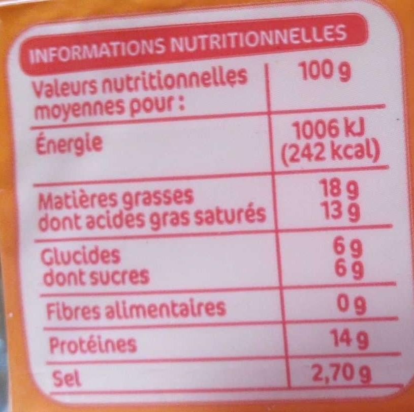 Tranches fromage fondu cheddarX20 - Nährwertangaben - fr