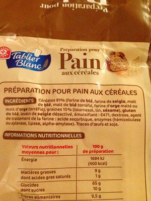 Préparation pour pain aux céréales - Ingredients