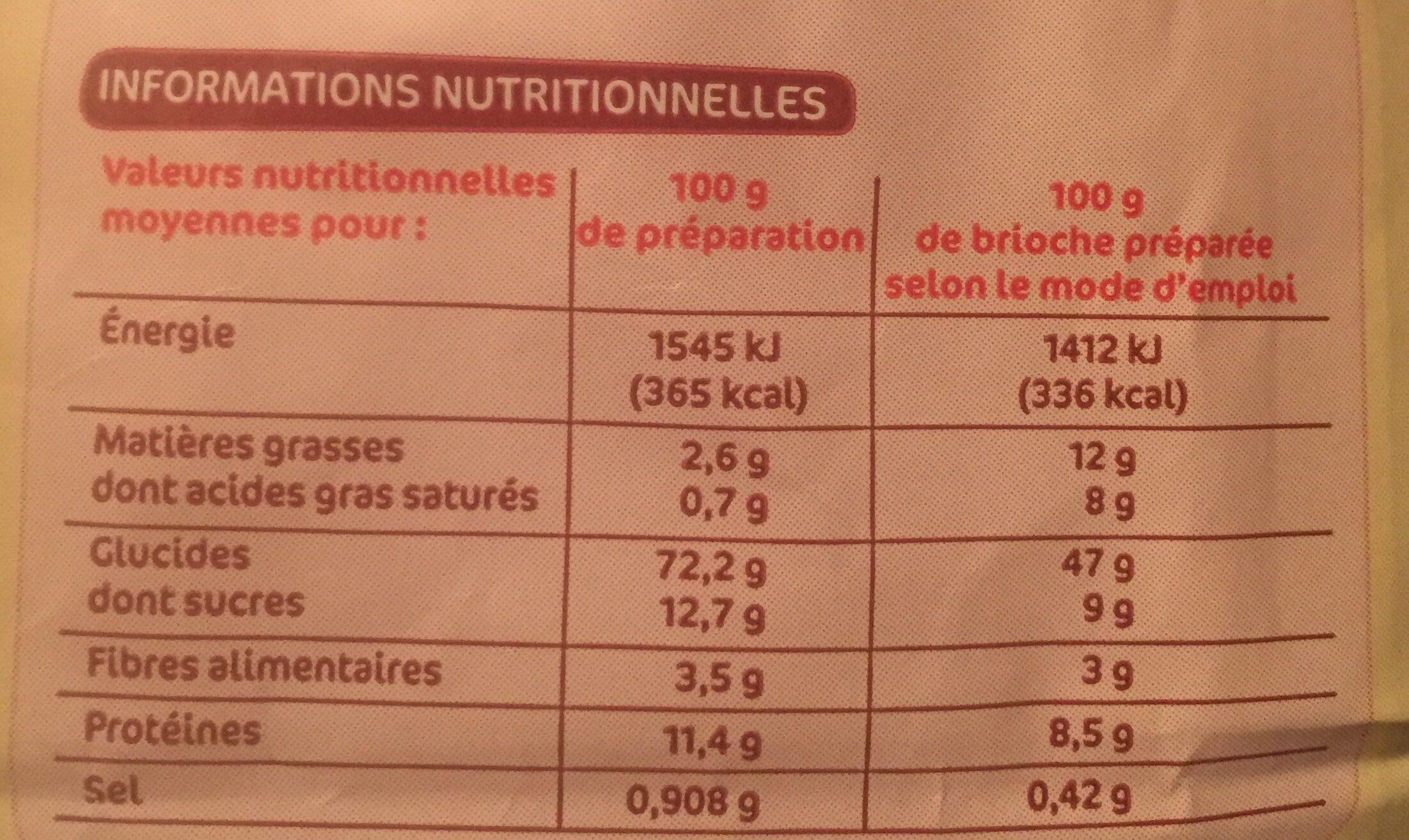 Préparation pour brioche - Informations nutritionnelles - fr
