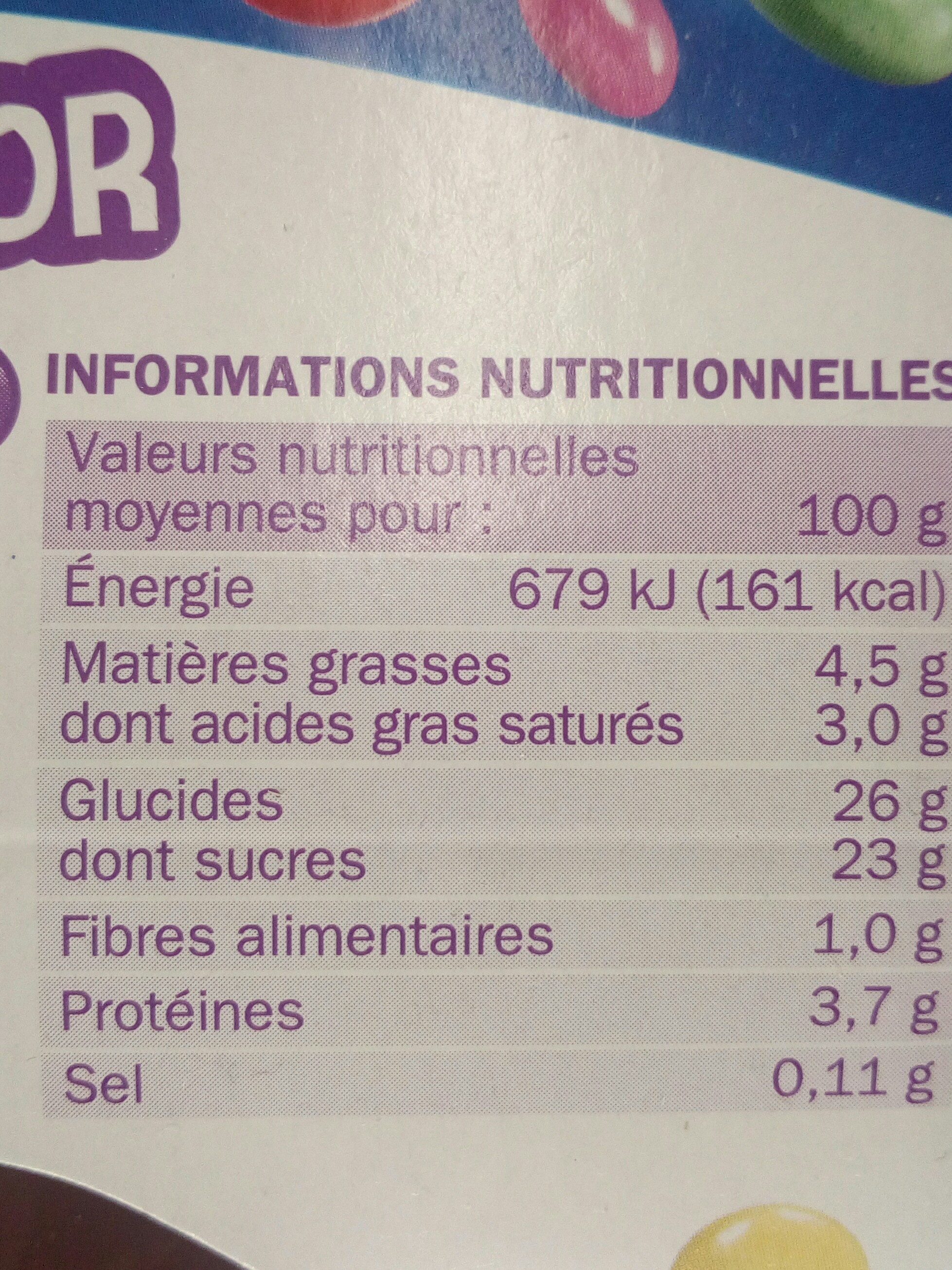 Mix n'croc chocco color - Nutrition facts - fr