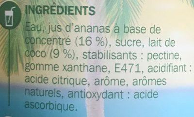 Cocktail sans alcool pina colada - Ingrédients - fr