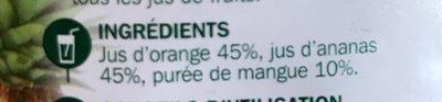 Pur jus d'orange, ananas et mangue - Ingrediënten - fr