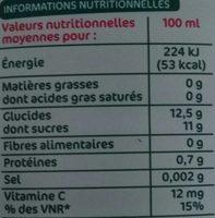 Pur jus orange clementine raisin banane - Valori nutrizionali - fr