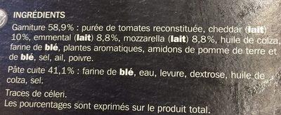 Pizza 3 fromages - Ingrédients