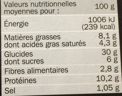 Pizza 3 fromages - Informations nutritionnelles