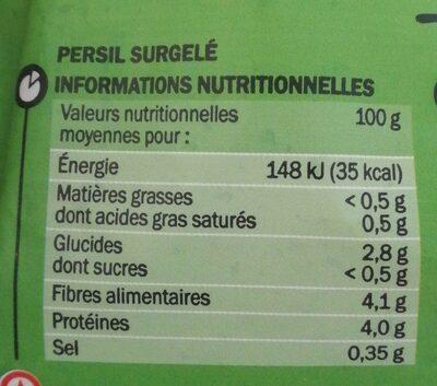 Persil finement ciselé - Voedingswaarden - fr