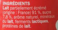 Yaourt à boire fraise - Ingredients