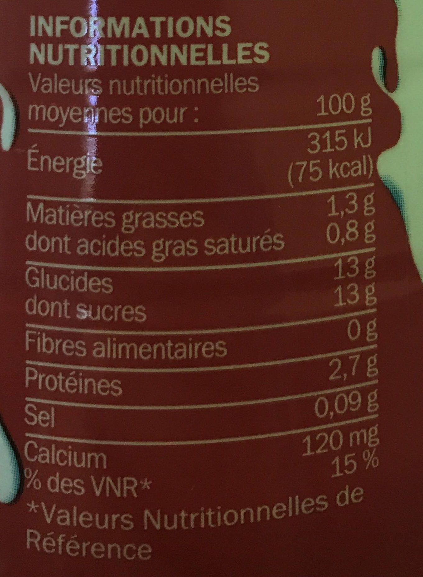 Yaourt à boire fraise - Nutrition facts
