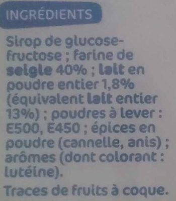 Pain d'épices au lait - Ingredients