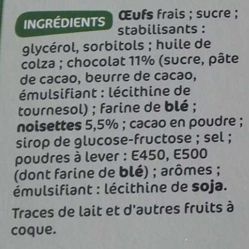 Brownies individuels chocolat & noisette x 8 - Ingrediënten - fr