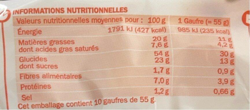 Gaufres liégeoises aux perles de sucre - Nutrition facts - fr
