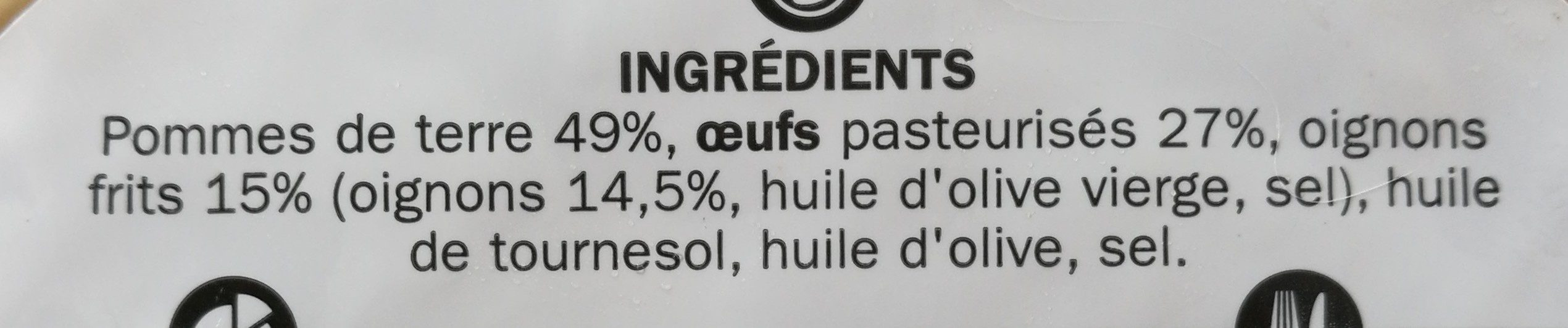 Tortilla oignon - Ingredients