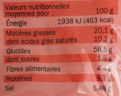 Nouilles asisatiques boeuf sac - Nutrition facts