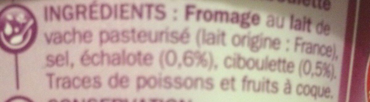 Fromage à tartiner échalote et ciboulette - Ingredients