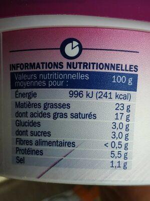 Fromage à tartiner échalote et ciboulette - Informations nutritionnelles - fr