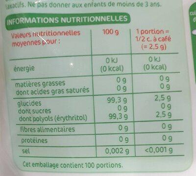 Edulcorant à base de stévia en poudre - Nutrition facts - fr