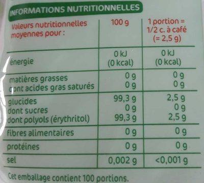Edulcorant à base de stévia en poudre - Voedingswaarden